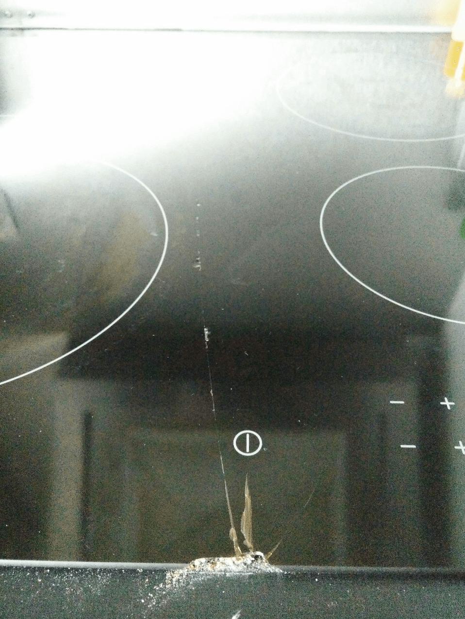 table de cuisson vitrocéramique cassée